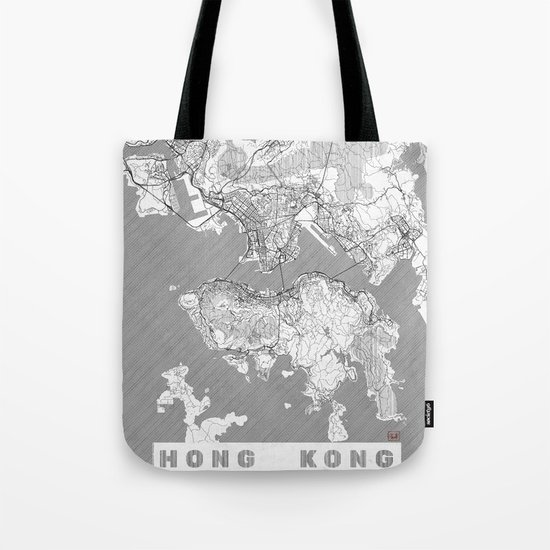 Hong Kong Map Line Tote Bag