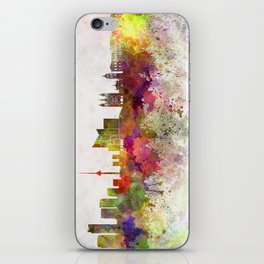 Vilnius skyline in watercolor background iPhone Skin
