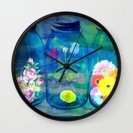 Flowers Jars Wall Clock