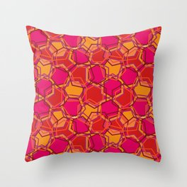 Red Abstract Hexagon Throw Pillow