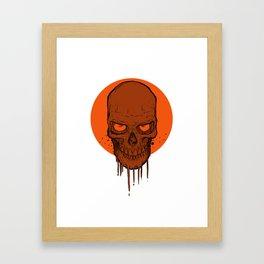 Skull in Red Framed Art Print