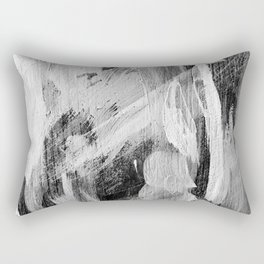 Abstract Painting in Black, Gray and White Rectangular Pillow