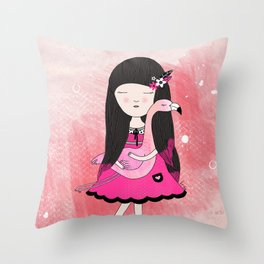 Flavia and Flamingo Throw Pillow