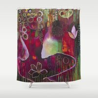 """flora bowley Shower Curtains featuring """"Surrender"""" Original Painting by Flora Bowley by Flora Bowley"""