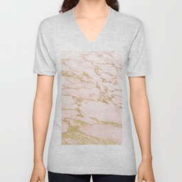 Blush pink abstract gold glitter marble Unisex V-Neck