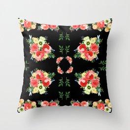 Tiny Blütenschön Black Throw Pillow