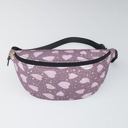 Abstract Purple Watercolor Pink Hearts Gold Dots Pattern Fanny Pack