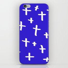 blue white cross iPhone Skin
