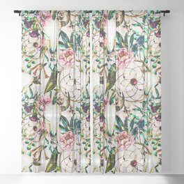 Bohemian Skull Pattern Flowery Vibrant Colors Sheer Curtain