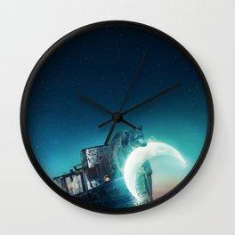Who stole the moon? #bear Wall Clock