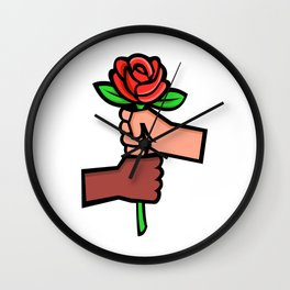 Two Hands Holding Red Rose Mascot Wall Clock