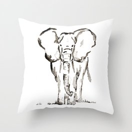 Elephant in Ink Throw Pillow