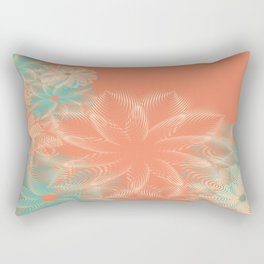 Abstract Floral in Teal and Coral Rectangular Pillow
