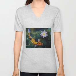 Showa Koi and Water Lily Unisex V-Neck