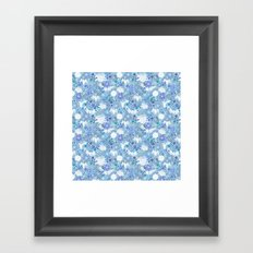 Blue Crane Floral Framed Art Print
