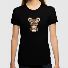 Cute Baby Tiger Cub Wearing Eye Glasses on White T-shirt