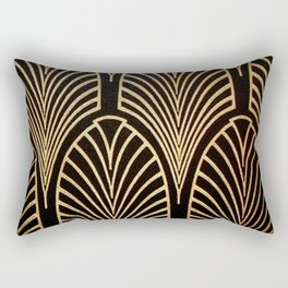 Art nouveau Black,bronze,gold,art deco,vintage,elegant,chic,belle époque Rectangular Pillow