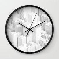 metropolis Wall Clocks featuring metropolis by parisian samurai studio
