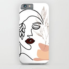 Linear female beauty simple face botanical element graphic leaf minimal art continuous line drawing iPhone Case
