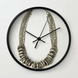 Mongolian silver necklace Wall Clock