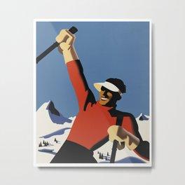 Skiing the slopes Metal Print