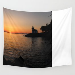 Lime Kiln Lighthouse Sunset Wall Tapestry