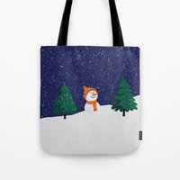 snowman Tote Bags featuring Snowman ... by Mr and Mrs Quirynen