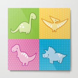 Colorful dinosaurs and pterodactyl cheater quilt Metal Print