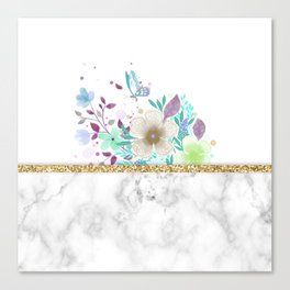 MINIMAL GOLD FLORAL MARBLE Canvas Print