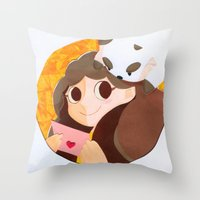 puppycat Throw Pillows featuring Bee & Puppycat by martinezmaca