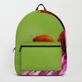 Bee and butterfly sitting on pink Echinacea bloom Backpack