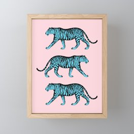 Tigers (Pink and Blue) Framed Mini Art Print