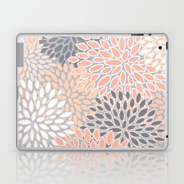 Flowers Abstract Print, Coral, Peach, Gray Laptop & iPad Skin