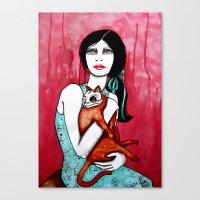 kitty Canvas Prints featuring Kitty by LisaMMurphyArt