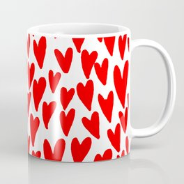 Hearts red and white love valentines day heart pattern minimal Coffee Mug