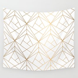 Geometric Gold Pattern With White Shimmer Wall Tapestry