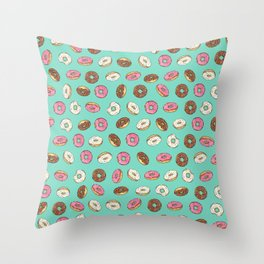 ALL the donuts! Rainbow on Aqua Throw Pillow