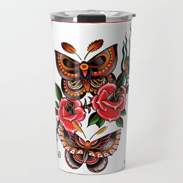 Tattoo Flash Butterfly Rose Travel Mug
