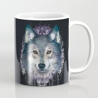 wolf Mugs featuring Wolf by Laura Graves
