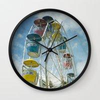 ferris wheel Wall Clocks featuring Ferris Wheel by Mary Kilbreath
