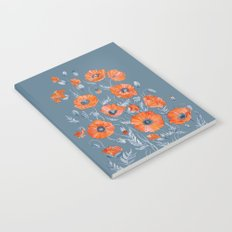 Red poppies in grey Notebook