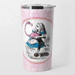 Alice in Wonderland | Alice Playing Croquet with a Flamingo and Hedgehogs | Pink Damask Pattern | Travel Mug