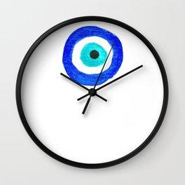 Single Evil Eye Amulet Talisman Ojo Nazar - on white Wall Clock