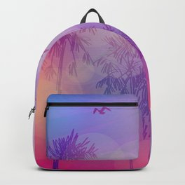 Silhouette of palm trees and birds, sky pink background, sunset, dawn. Backpack