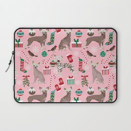 Chinese Crested dog breed christmas dogs pattern stockings mittens presents Laptop Sleeve