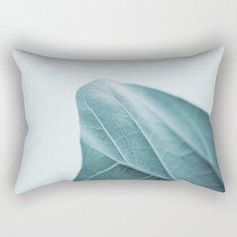Teal Plant Leaves Rectangular Pillow