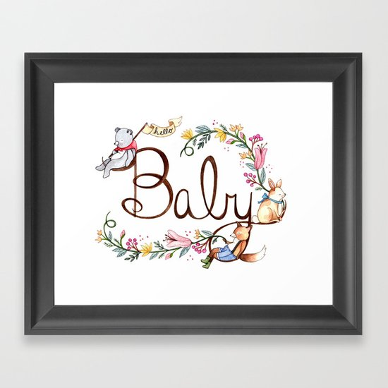 Hello Baby Framed Art Print