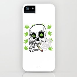 Skull Cannabis Tee For High People Pot Medical Weed T-shirt Design Marijuana Medication Legalized iPhone Case