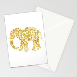 Floral Elephant in Gold Stationery Cards