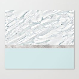 Calacatta verde - silver turquoise Canvas Print